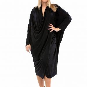 Φόρεμα Βυσκοζολίκρα ασσύμετρο σάκος μαύρο