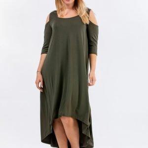 Φόρεμα Βαμβακερό μίντι ασσύμετρο και έξωμο.