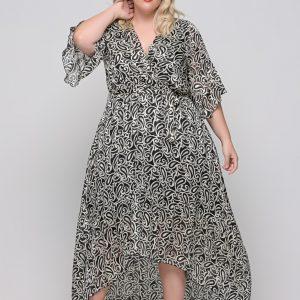 Φόρεμα κρουαζέ εμπριμέ με φραμπαλά μανίκι και ζωνάκι