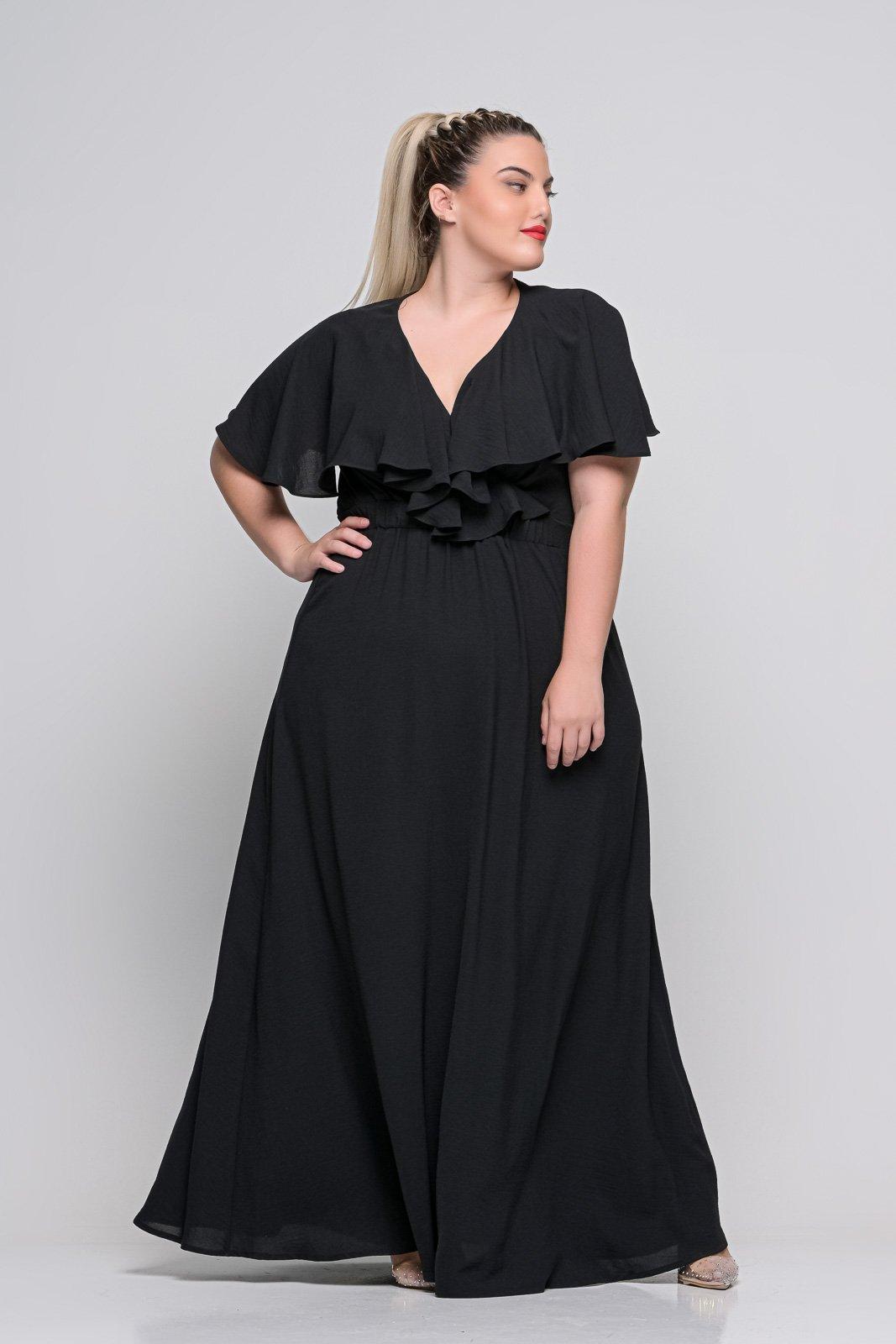 Φόρεμα κρουαζέ μαύρο με φραμπαλά μανίκι και λάστιχο στη μέση