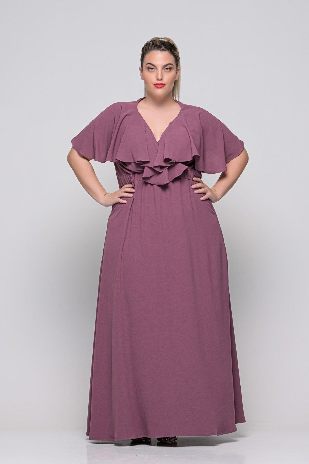 Φόρεμα κρουαζέ  μελιντζανι φραμπαλά μανίκι και λάστιχο στη μέση